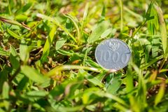 Rupiah coin money on green grass. Thousand Indonesia Rupiah coin money on green grass Background Texture Royalty Free Stock Image