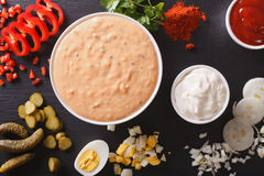 Thousand Island Dressing with ingredients close-up. horizontal t Stock Image