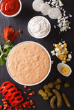 Thousand Island Dressing with ingredients close-up. vertical top Royalty Free Stock Image