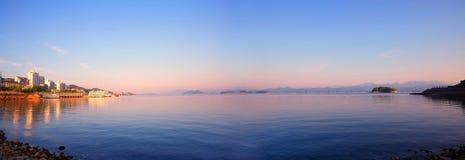 Thousand-Island Lake, Hangzhou, China. Thousand Island Lake resort in sunrise, panorama view Royalty Free Stock Photo