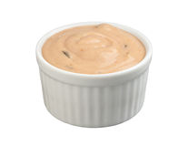 Thousand Island Salad Dressing (with clipping path. Thousand Island in a ramekin with a clipping path isolated on white. Full focus front & back. Isolation is on stock photo