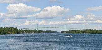 The Thousand Islands Bridge and Boat Royalty Free Stock Image