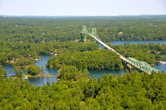 The Thousand Islands Bridge. International bridge between USA and Canada in Thousand Islands Region in fall, New York State, USA Royalty Free Stock Photography