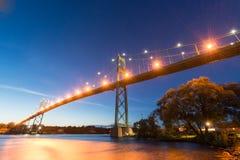 Thousand Islands Bridge at Night Stock Photography