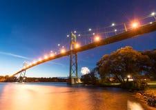 Thousand Islands Bridge at Night Stock Images