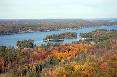 Thousand Islands in fall. Saint Lawrence Islands National Park viewd from Sky deck on Hill Island in Thousand Islands region in fall, on the border of Canada and royalty free stock image