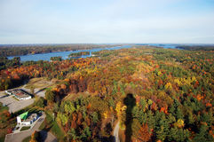 Thousand Islands in fall. Saint Lawrence Islands National Park viewd from Sky deck on Hill Island in Thousand Islands region in fall, on the border of Canada and Royalty Free Stock Images