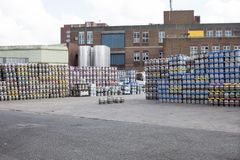 Thousand Kegs in the brewery stocked on backyard. stock image