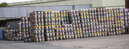 Kegs in the brewery stocked. Royalty Free Stock Photos