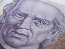 Thousand Mexican Peso Bill Close UP. Close Up of mexican thousand peso currency showing the face of the independence leader Miguel Hidalgo. This are new Bills stock photos