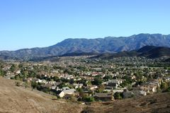 Thousand Oaks Panorama. View of mountains behind a residential neighborhood, Thousand Oaks, CA Royalty Free Stock Photography