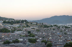 Thousand of old town Lijiang roof. Stock Photo