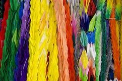 Thousand origami cranes Stock Photo