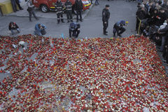 12,000 thousand people march in silence for 30 dead victims in fire club Stock Image