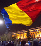 Thousand people marched through the Romanian capital on Wednesday night to protest the government`s plan to pardon thousands of pr. Bucharest, Romania - January Royalty Free Stock Photography