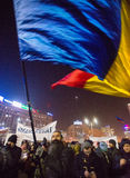 Thousand people marched through the Romanian capital on Wednesday night to protest the government`s plan to pardon thousands of pr. Bucharest, Romania - January Stock Photo