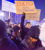 Thousand people marched through the Romanian capital on Wednesday night to protest the government`s plan to pardon thousands of pr. Bucharest, Romania - January Stock Images