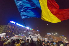 Thousand people marched through the Romanian capital on Wednesday night to protest the government`s plan to pardon thousands of pr. Bucharest, Romania - January Royalty Free Stock Image