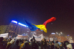 Thousand people marched through the Romanian capital on Wednesday night to protest the government`s plan to pardon thousands of pr. Bucharest, Romania - January Royalty Free Stock Photo