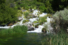 Thousand Springs - Idaho. Many springs emerge from the cliff walls in Idaho Snake River canyon near the town of Hagerman, forming what is known as Thousand Stock Photos