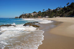 Thousand Steps Beach, South Laguna Beach, California. View of a beautiful beach in South Laguna Beach, California. Called the Thousand Steps Beach because the Royalty Free Stock Photos