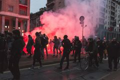 Thousands of activists marching in Milan, Italy Stock Photography