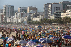 Thousands of bathers in Rio de Janeiro beach Royalty Free Stock Photo