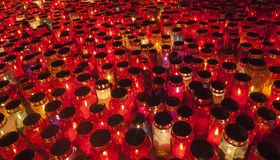 Thousands of Candles illuminating a cemetery during  All Saint's Day Stock Images