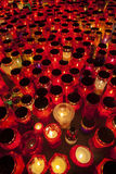 Thousands of Candles illuminating a cemetery during  All Saint's Day Royalty Free Stock Photos