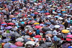 Thousands of Catholic pilgrims praying in the outdoors during th Royalty Free Stock Photography