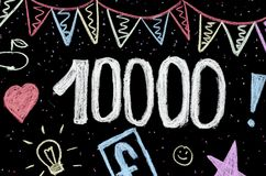 10 thousands chalk drawing on blackboard stock photo