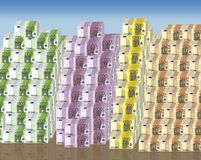 Thousands euro banknotes. Thousands colorful euro banknotes. 50, 100, 200 and 500 euro banknotes royalty free illustration