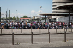 Thousands of fans waiting at Springesteen concert in Milan Stock Images
