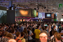 Thousands gamers at Gamescom 2011 Stock Photography