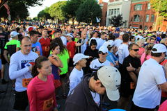 Thousands gathered for start of half marathon,Saratoga Springs New York,September 15th,2013 Royalty Free Stock Photos