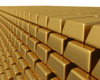 Thousands of gold bullion bars piled high Stock Photo