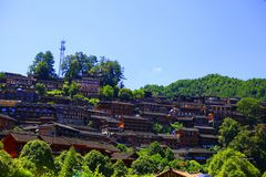 Thousands of Hmong Villages on mountain stock photo