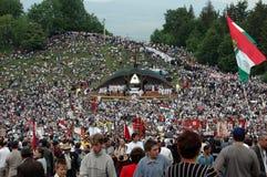 Thousands of Hungarian pilgrims Royalty Free Stock Photos