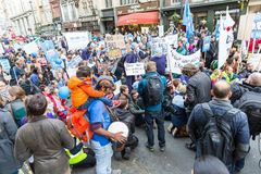 Thousands Junior doctors protest in London. LONDON, UK - OCTOBER 17, 2015: Thousands Junior doctors marching in London streets to campaign against NHS contract Stock Photos