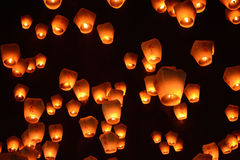 Thousands of lanterns fill the sky at the 2017 Pingxi Sky Lantern Festival in Taiwan Stock Photos