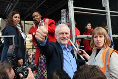 Thousands March in Support of the NHS. London, UK - March 4, 2017: Labour leader Jeremy Corbyn gestures to supporters during a demo in support of the NHS Stock Photos