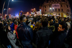 Thousands of people demonstrating against corruption Stock Images