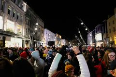 Thousands of people gather in St Patrick street to witness the turning on of the Christmas lights. November 18th, 2018, Cork, Ireland - thousands of people stock photo