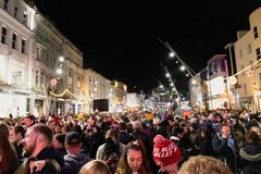 Thousands of people gather in St Patrick street to witness the turning on of the Christmas lights. November 18th, 2018, Cork, Ireland - thousands of people stock images