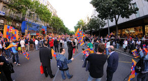 Thousands of people joins Bars players on the streets of the Catalan capital Royalty Free Stock Photo