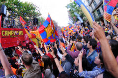 Thousands of people joins Bars players on the streets of the Catalan capital to celebrate the club winning its 22nd league title Royalty Free Stock Photo