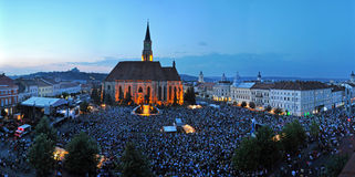 Thousands of people during a live rock opera Stock Photo