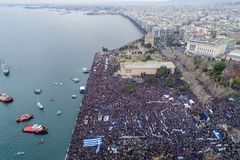 Thousands of people protest against any Greek compromise on the. Thessaloniki, Greece - January 21, 2018:Thousands of people protest against any Greek compromise Stock Image