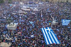 Thousands of people protest against any Greek compromise on the. Thessaloniki, Greece - January 21, 2018:Thousands of people protest against any Greek compromise Royalty Free Stock Photo