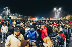 Thousands of people protesting in Bucharest Royalty Free Stock Photos